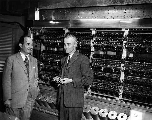 Oppenheimer and von Neumann in front of the MANIAC