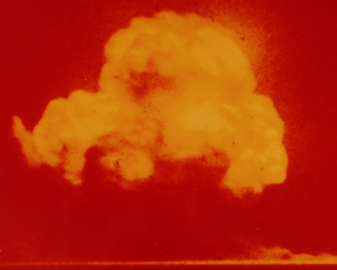Jack Aeby's photograph of the Trinity test—the only color photograph of the test.